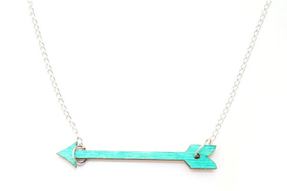 6. Teal Arrow Necklace, Painted Wood Arrow - Laurasjewellery - Etsykopie.jpg