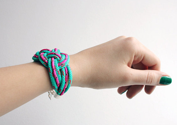 3. Chunky rope knot bracelet in teal and neon pink - AlmostDone - Etsy.jpg