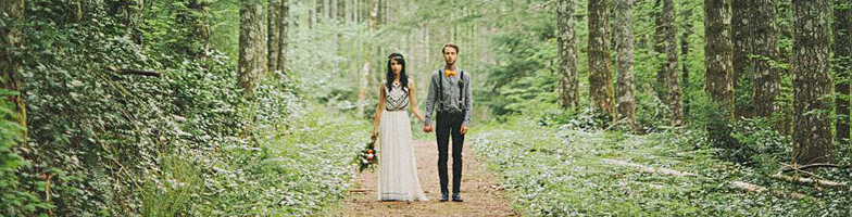 Bohemian wedding in the woods -->